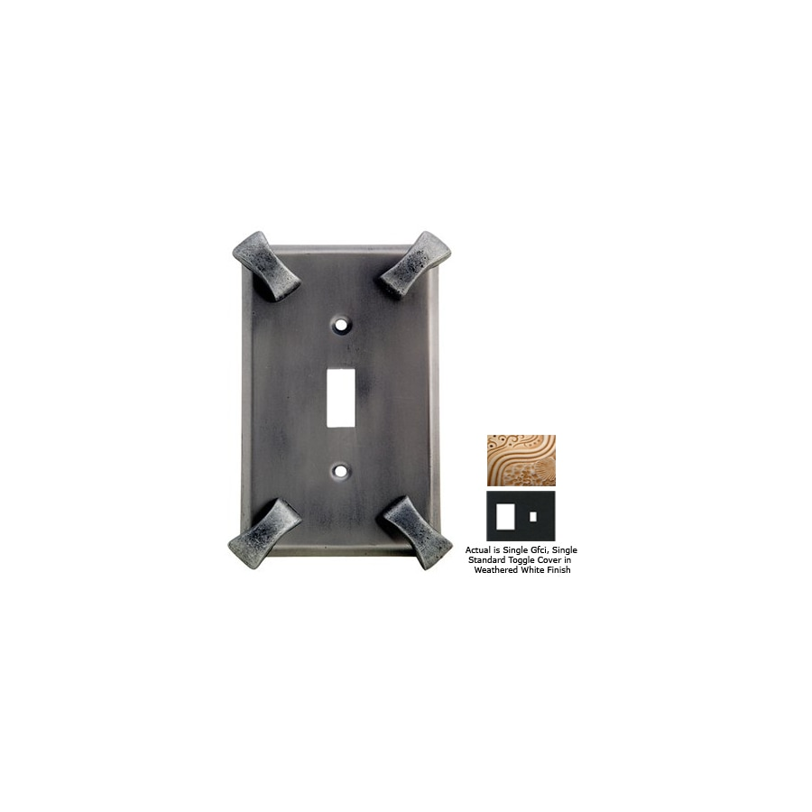 Anne at Home Hammerhein 2-Gang Weathered White Combination Pewter Wall Plate