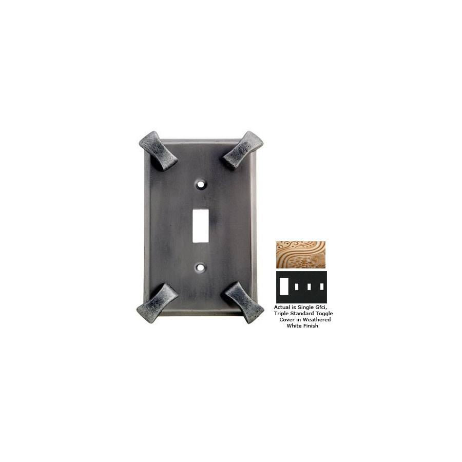 Anne at Home Hammerhein 4-Gang Weathered White Combination Pewter Wall Plate