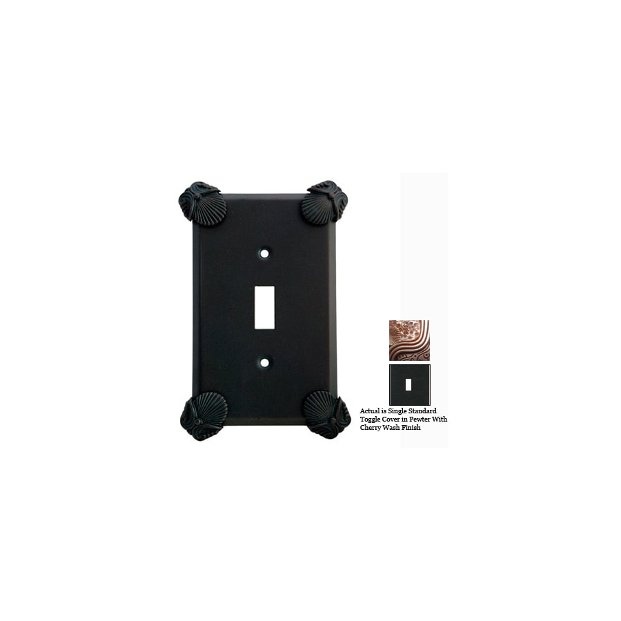 Anne at Home Oceanus 1-Gang Pewter with Cherry Wash Standard Toggle Pewter Wall Plate