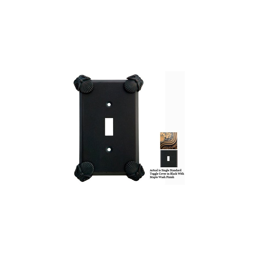 Anne at Home Oceanus 1-Gang Black with Maple Wash Standard Toggle Pewter Wall Plate
