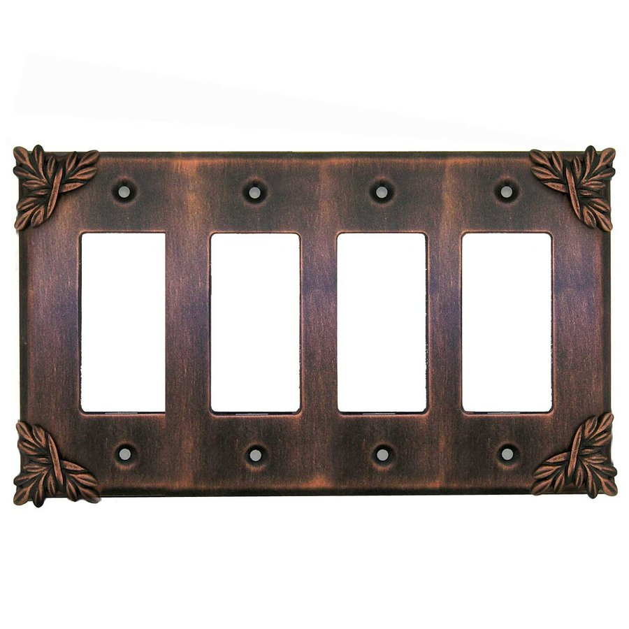 Anne at Home 4-Gang Rubbed Bronze Quad Decorator Wall Plate