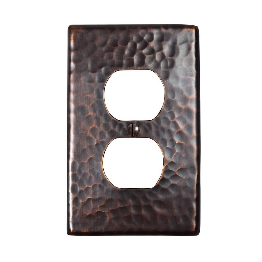 The Copper Factory Artisan 1-Gang Antique Copper Single Duplex Wall Plate