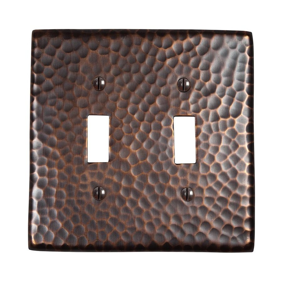 The Copper Factory Artisan 2-Gang Antique Copper Double Toggle Wall Plate