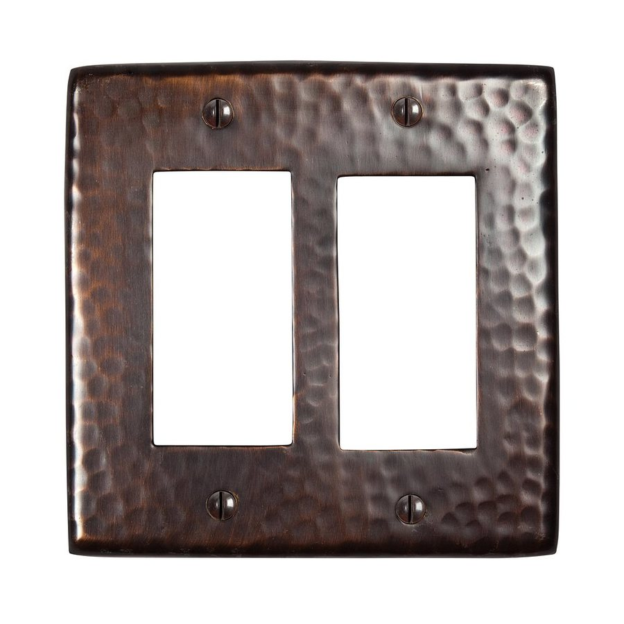 The Copper Factory Artisan 2-Gang Antique Copper Double Decorator Wall Plate