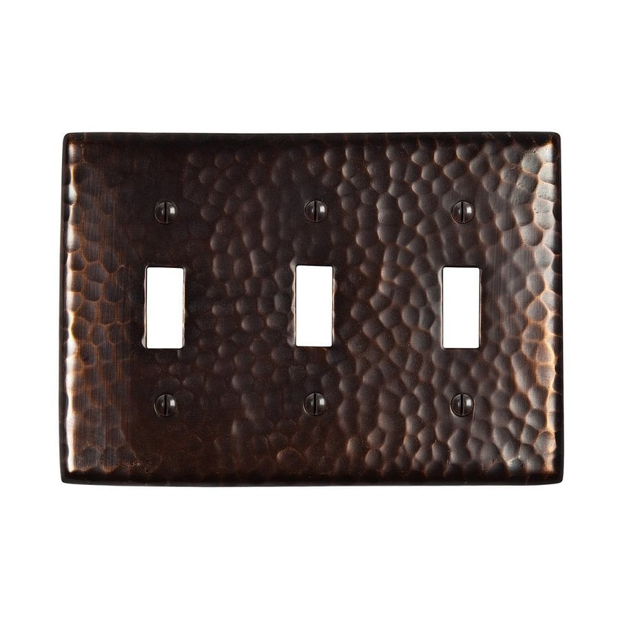 The Copper Factory Artisan 3-Gang Antique Copper Triple Toggle Wall Plate