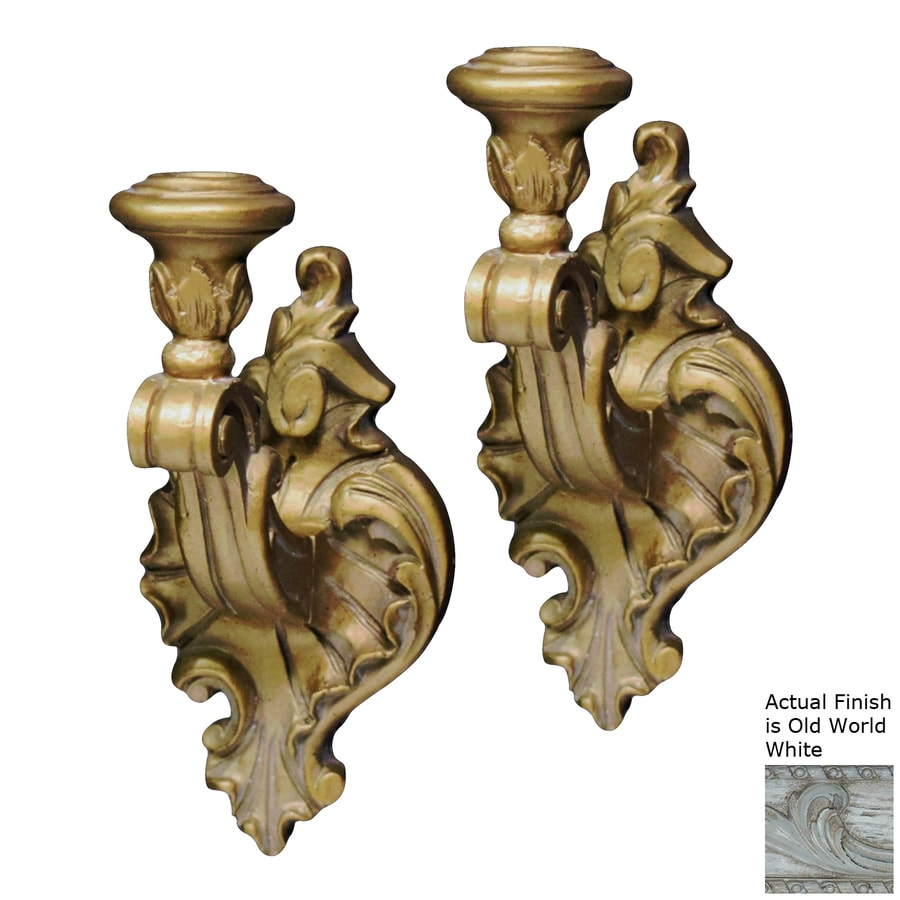 Hickory Manor House 2 Candle Victorian Old World White Resin Sconce Any Occasion Candle Holder