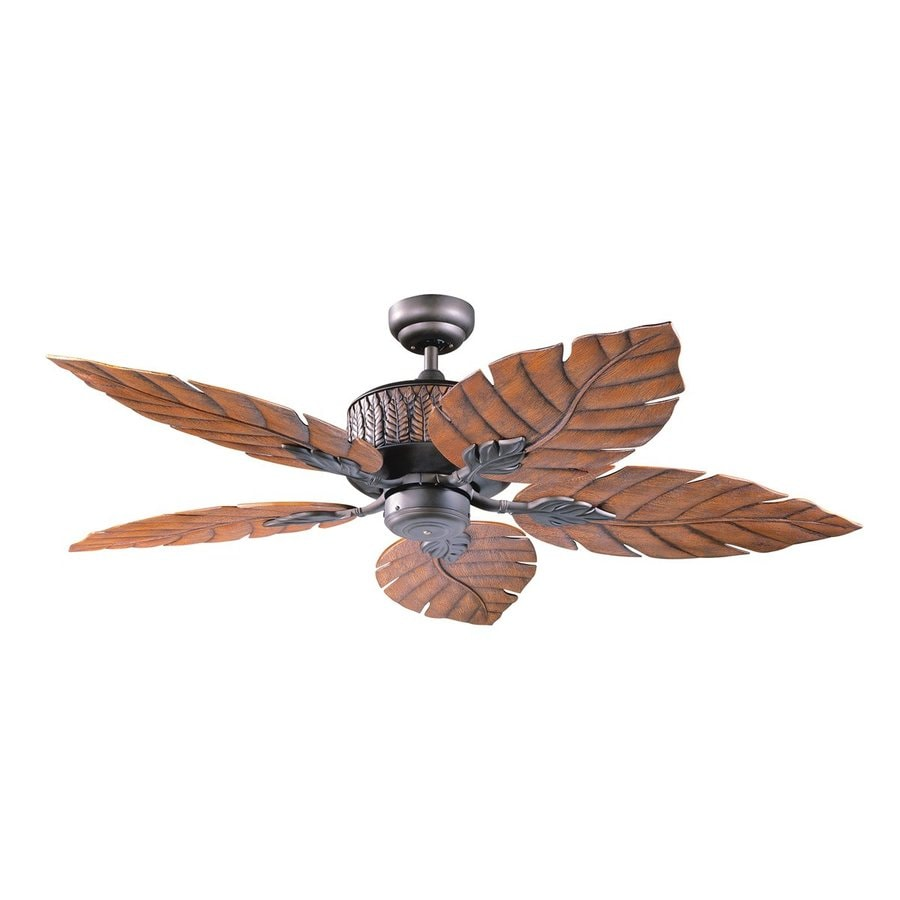 Kendal Lighting Fern Leaf 52-in Oil-Rubbed Bronze Downrod Mount Indoor/Outdoor Ceiling Fan (5-Blade)