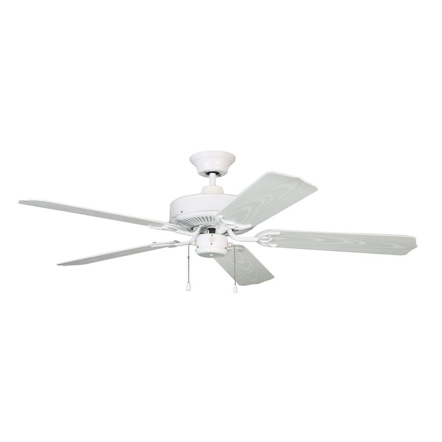 Kendal Lighting Sea Breeze 52-in White Downrod Mount Indoor/Outdoor Ceiling Fan (5-Blade) ENERGY STAR