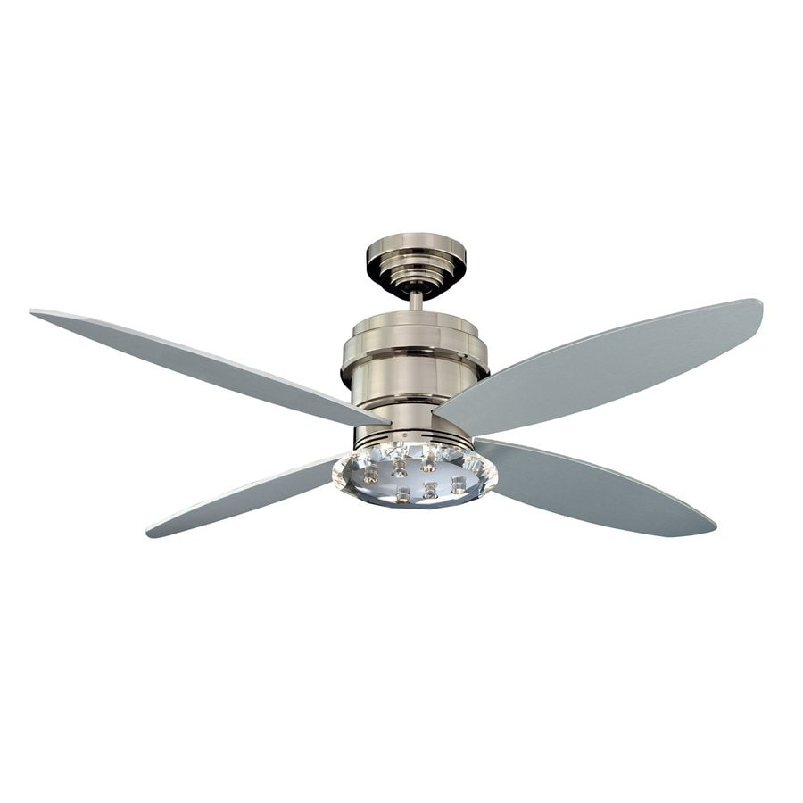 Kendal Lighting Optica 52-in Polished Nickel Downrod Mount Indoor Ceiling Fan with Light Kit and Remote (4-Blade)