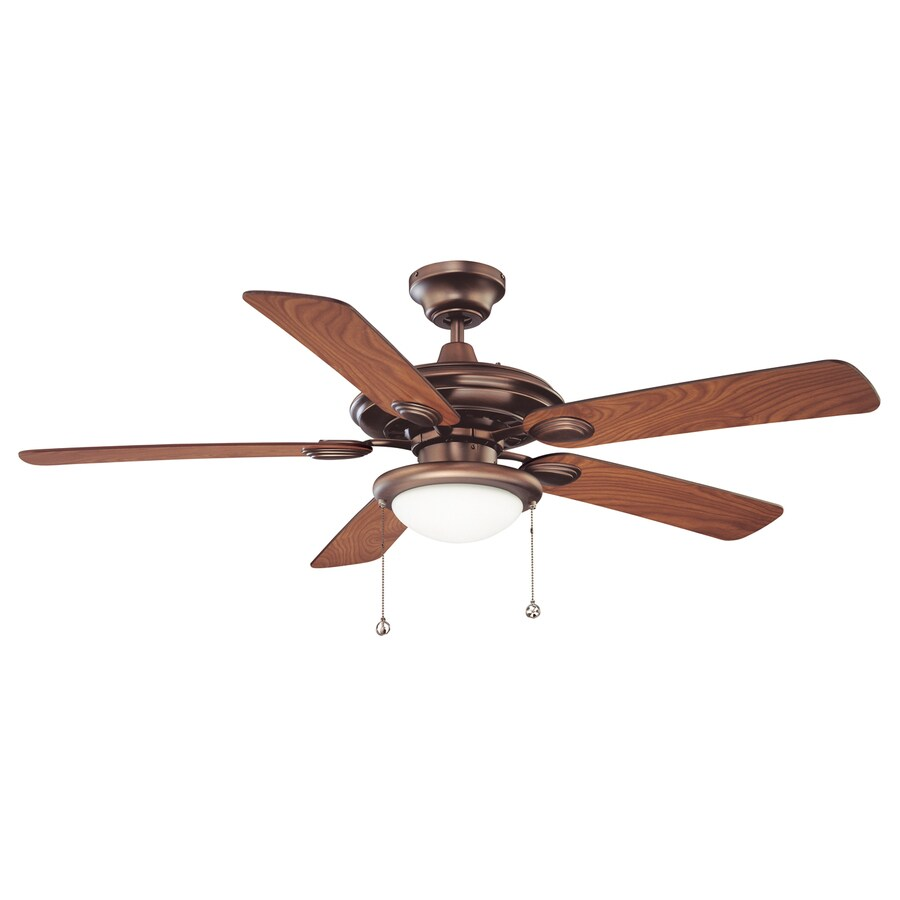 Kendal Lighting Builder's Choice 52-in Oil-brushed Bronze Indoor Downrod Mount Ceiling Fan with Light Kit