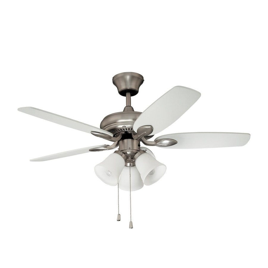 kendal lighting cordova 42in satin nickel indoor downrod mount ceiling fan with light kit