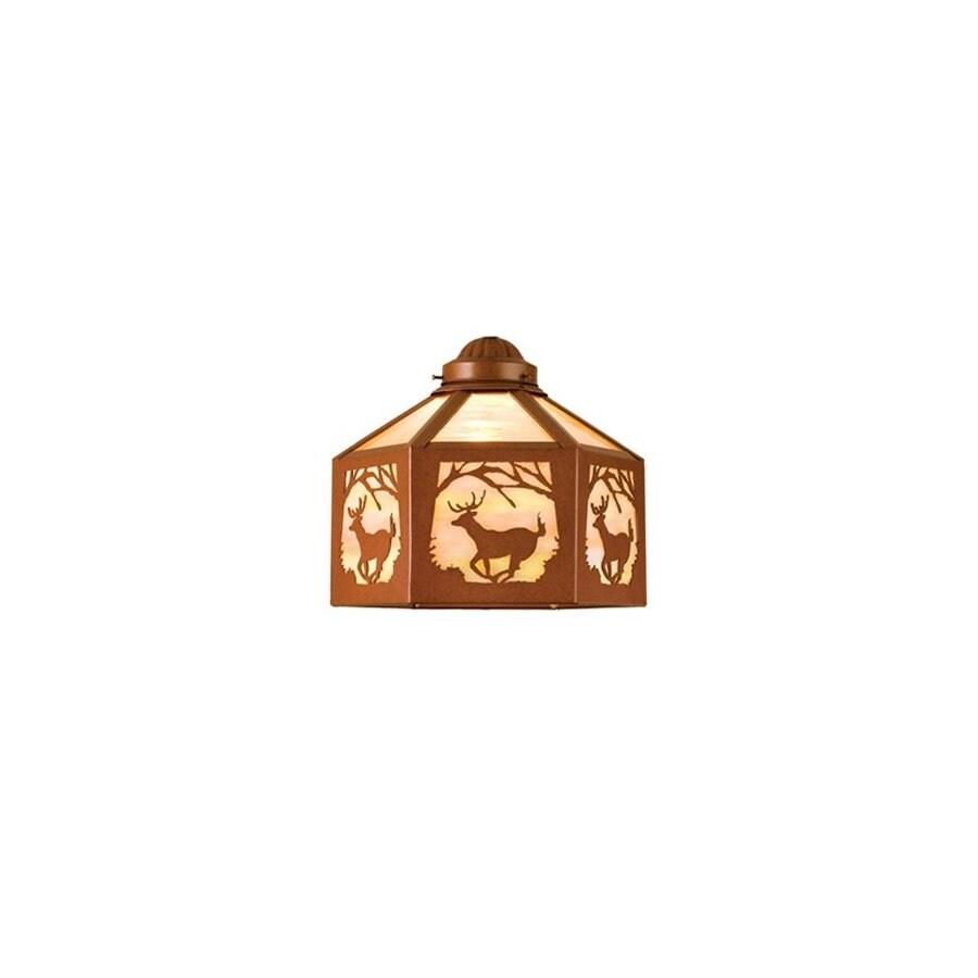 Meyda Tiffany 1-Light Rust Ceiling Fan Light Kit with Iridized Beige Glass