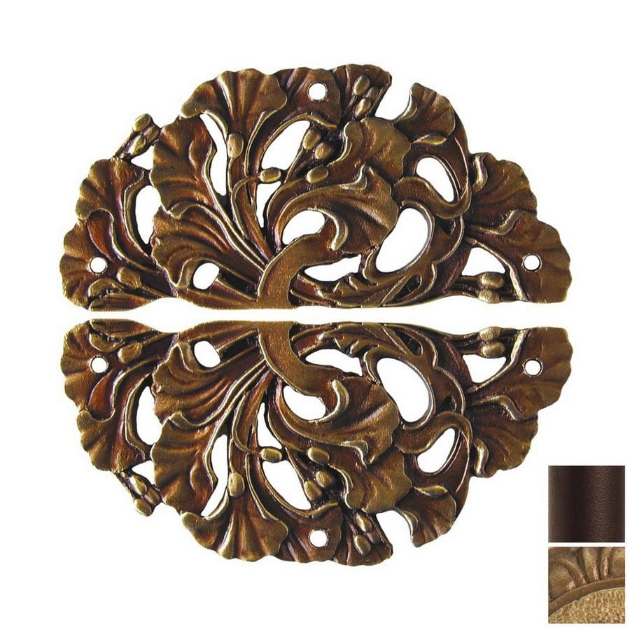 Notting Hill 2-Pack Antique Brass Florid Leaves Cabinet Backplate