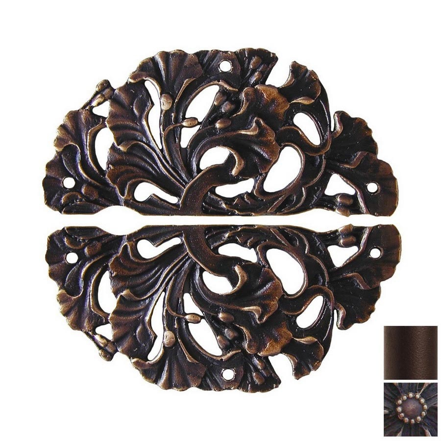 Notting Hill 2-Pack Antique Bronze Florid Leaves Cabinet Backplate