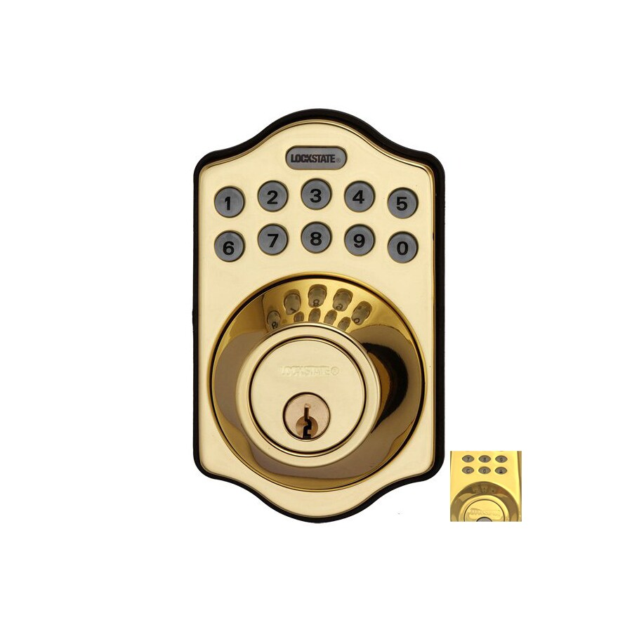 Lockstate Polished Brass Single-Cylinder Motorized Electronic Entry Door Deadbolt with Keypad