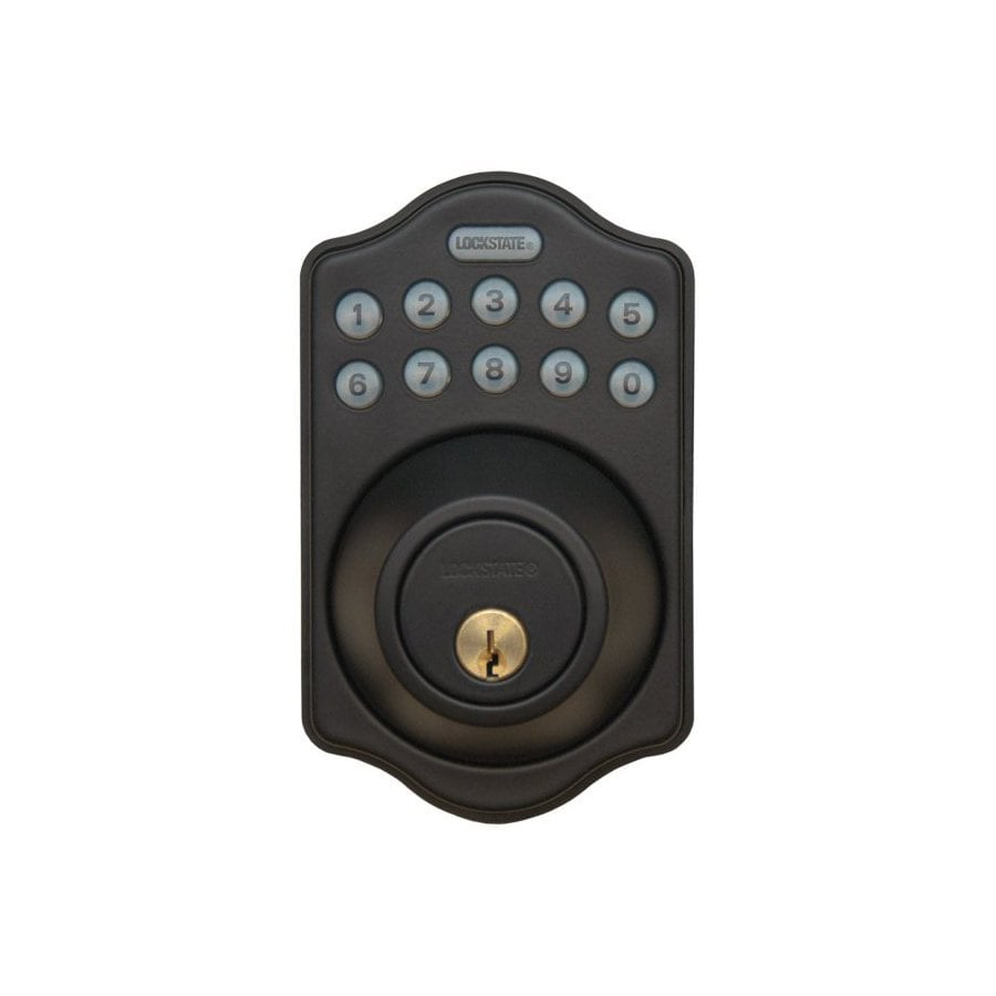 Lockstate Oil-Rubbed Bronze Single-Cylinder Motorized Electronic Entry Door Deadbolt with Keypad