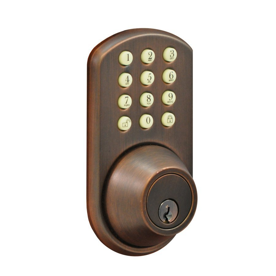 Morning Industry H-Series Oil-Rubbed-Bronze-Cylinder Electronic Entry Door Deadbolt with Keypad