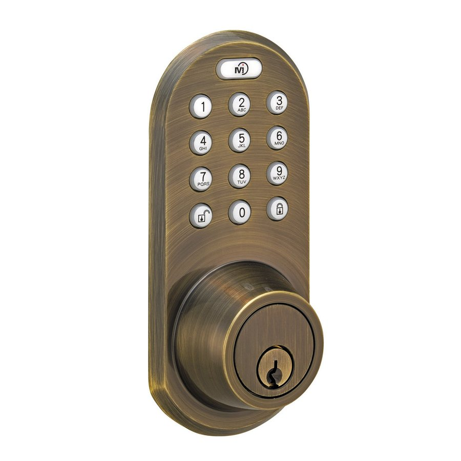 Morning Industry Q-Series Antique Brass-Cylinder Electronic Entry Door Deadbolt with Keypad