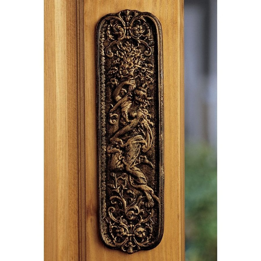 Design Toscano 3-in x 10.5-in Gold Tone Finish Maiden Entry Door Push Plate