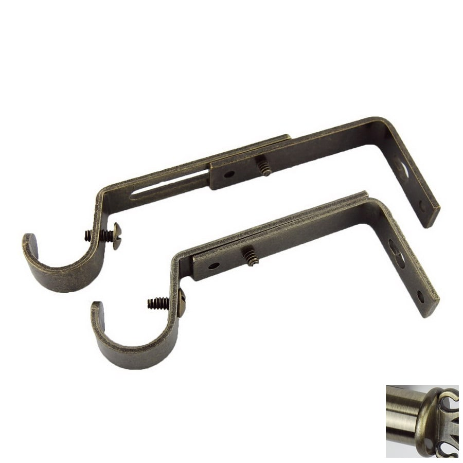 Rod Desyne 2-Pack Antique Brass Wall Brackets