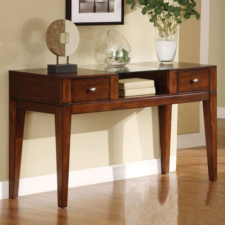 Furniture of America East Lake Tobacco Oak Birch Rectangular Console and Sofa Table
