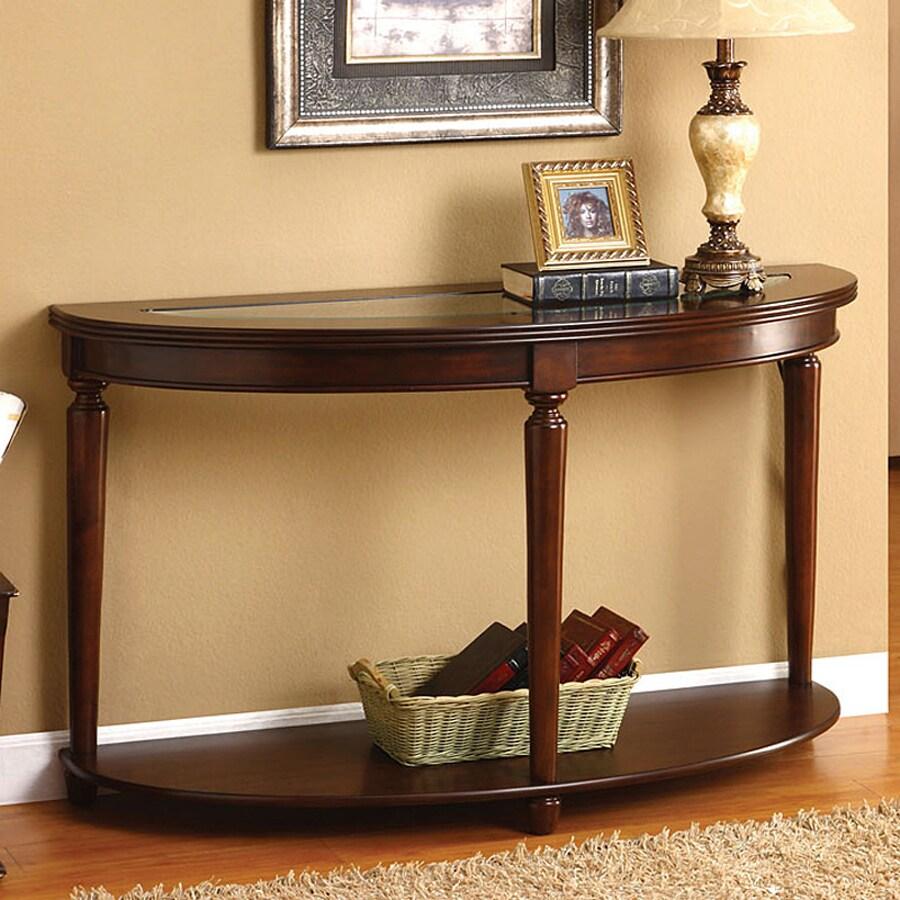 Furniture of America Granvia Dark Cherry Birch Half-Round Console and Sofa Table