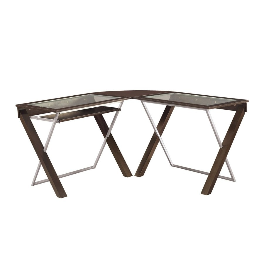 Office Star OSP Designs Contemporary Tempered Glass L-Shaped Desk