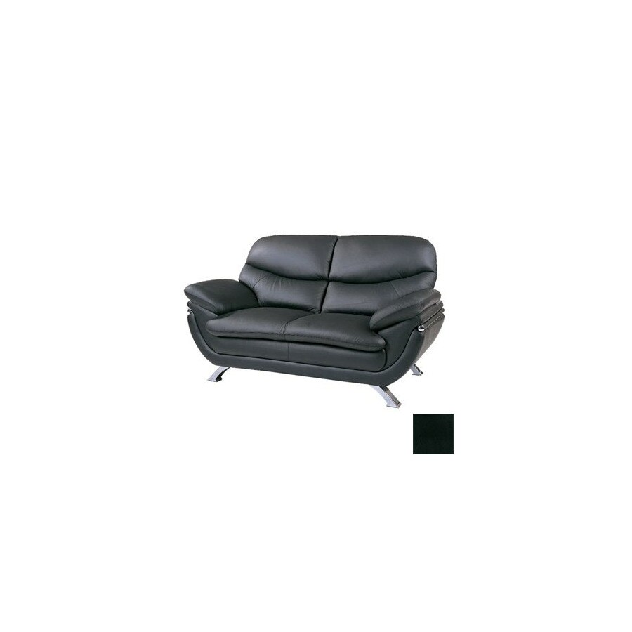 BH Design Jonus Black Leather Loveseat