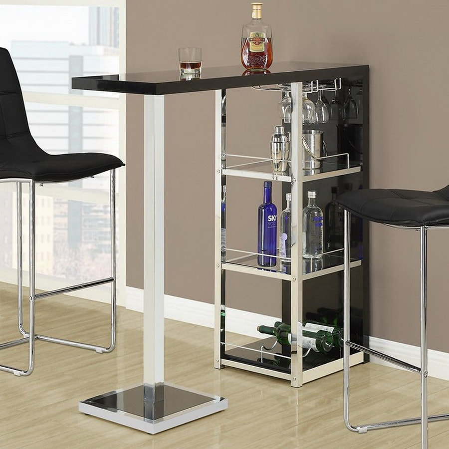 Monarch Specialties Black/Chrome Rectangular Bar Height Dining Table