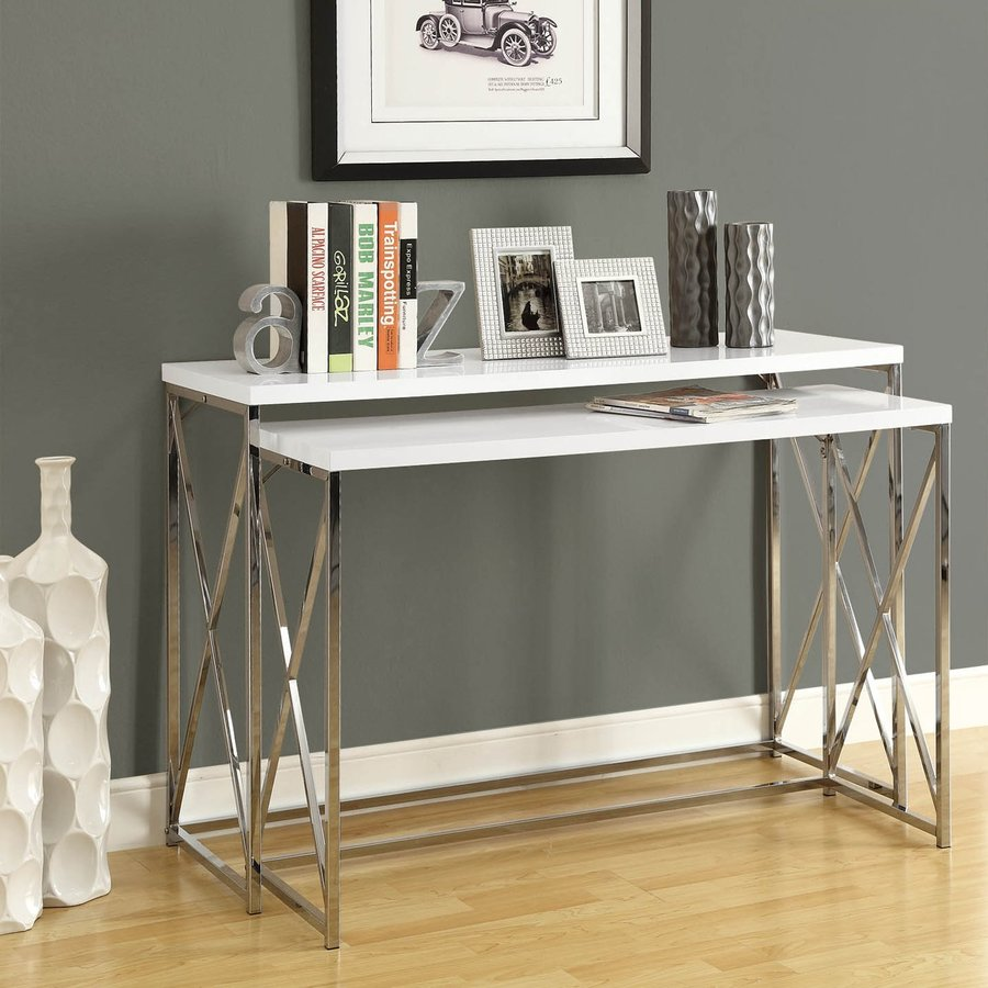 Monarch Specialties 2 Piece White Accent Table Set