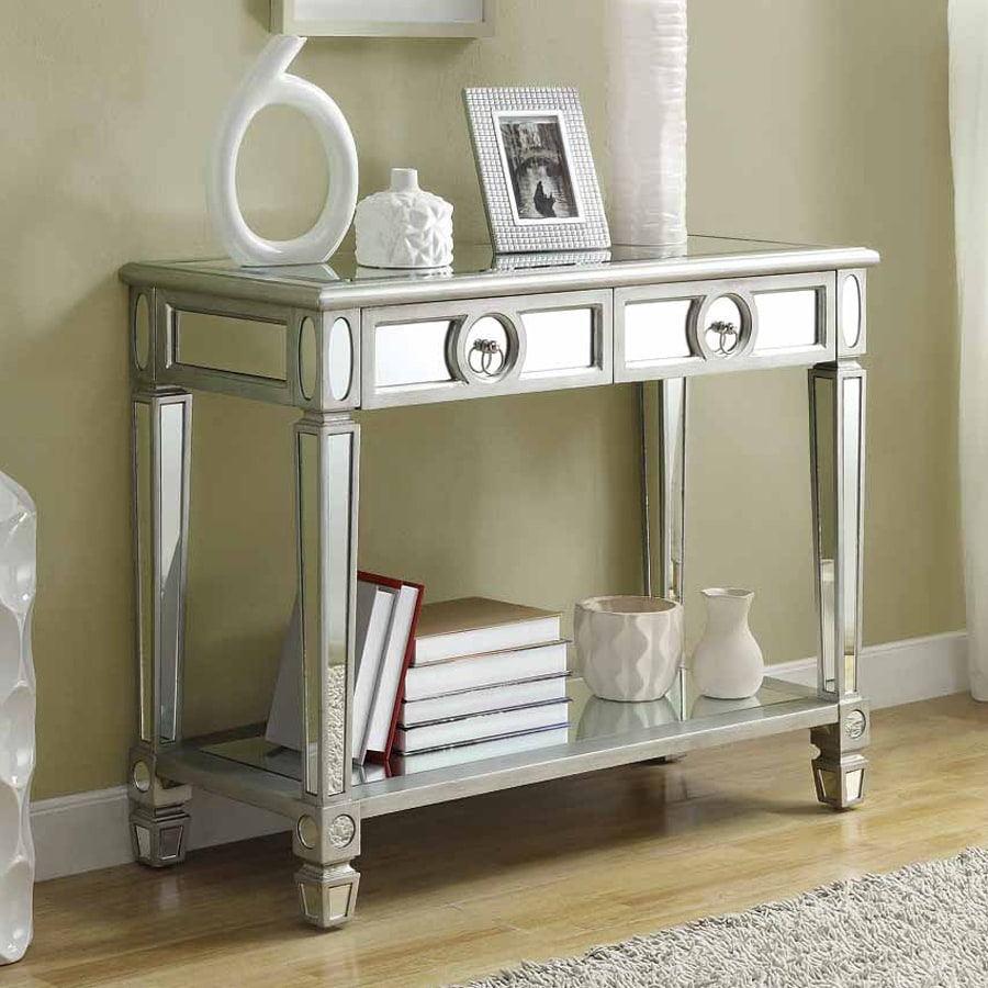 Monarch Specialties Silver/Mirrored Rectangular Console Table