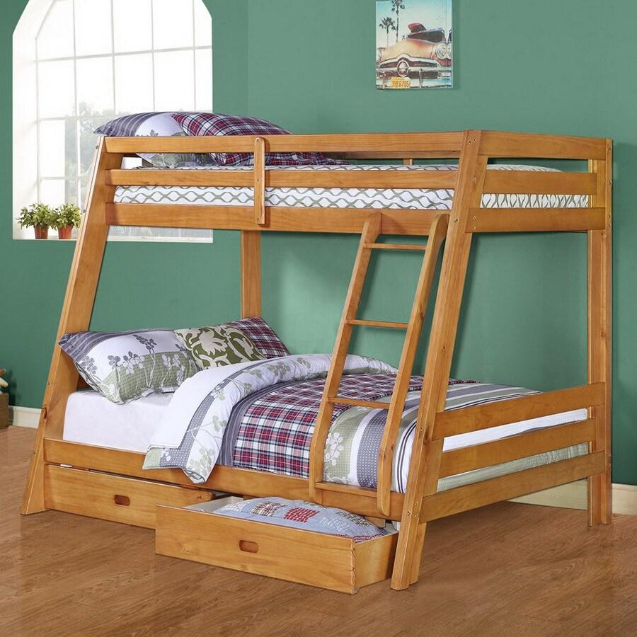 Monarch Specialties Medium Oak Twin Over Full Bunk Bed