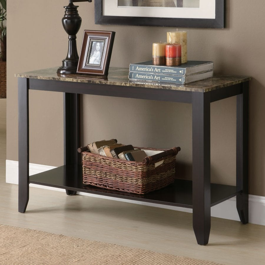 Monarch Specialties Cream Onyx Gray Rubberwood Console Table