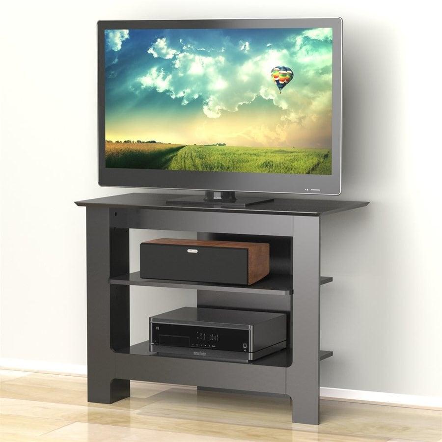 Nexera Alpine Black Rectangular Pedestal TV Stand