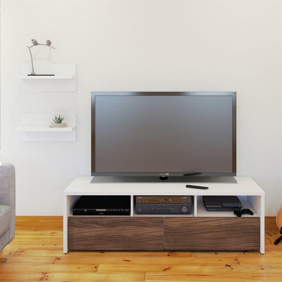 Nexera Liber-T White/Walnut Rectangular TV Cabinet