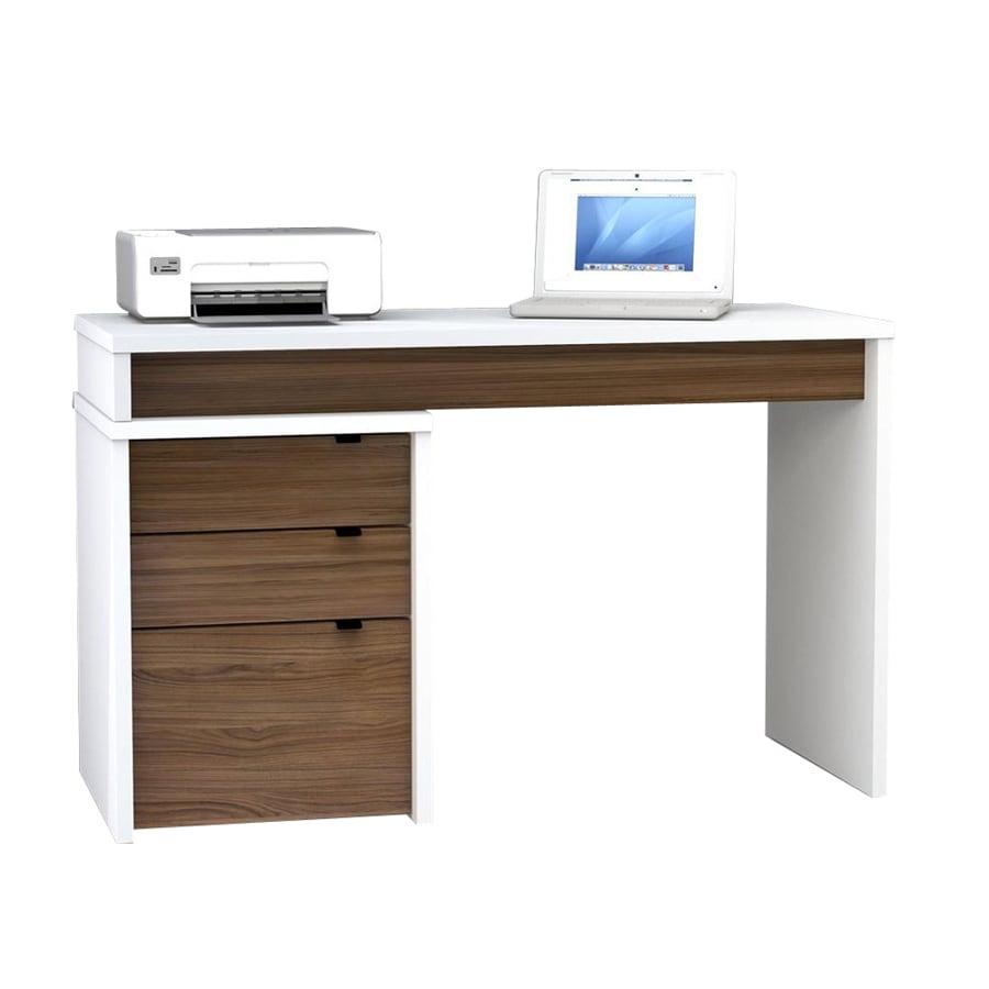 Nexera Liber T White Walnut Computer Desk