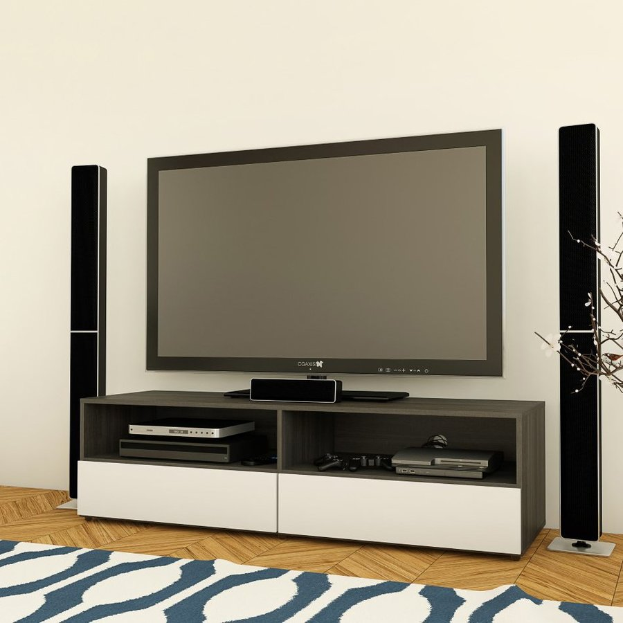Nexera Allure White/Ebony Rectangular TV Cabinet