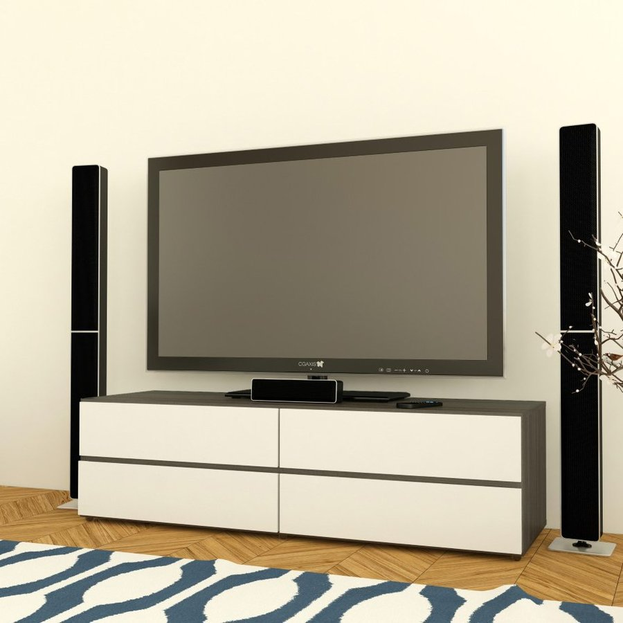 Nexera Allure White/Ebony TV Cabinet