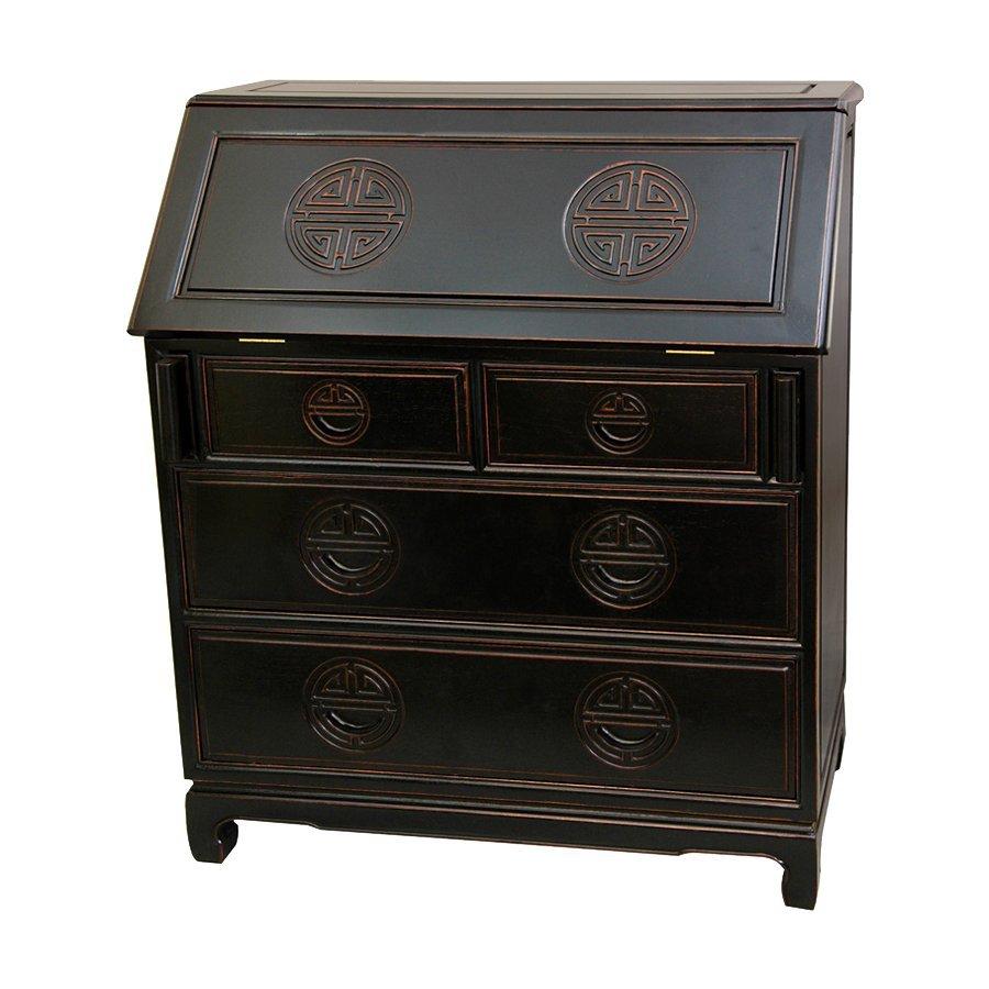 Oriental Furniture Rosewood Antique Black Writing Desk
