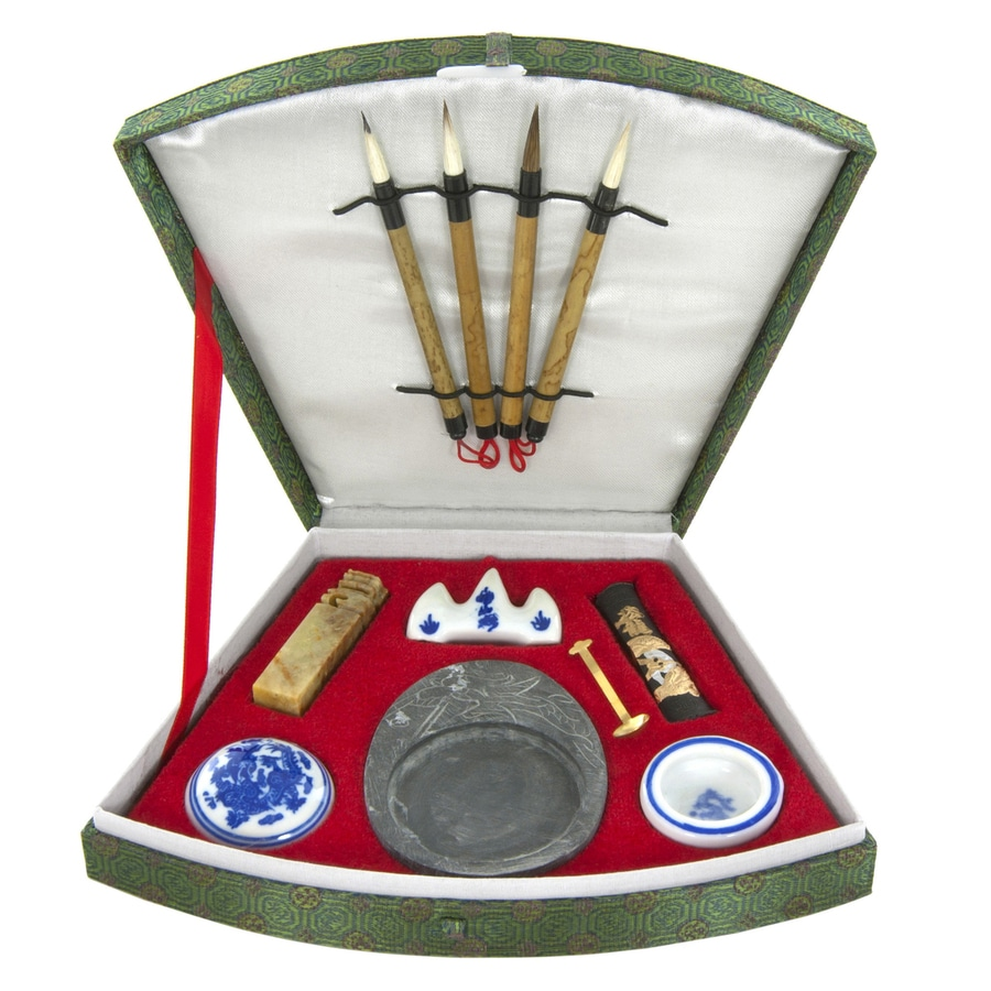 Oriental Furniture Oriental Fan Calligraphy Set