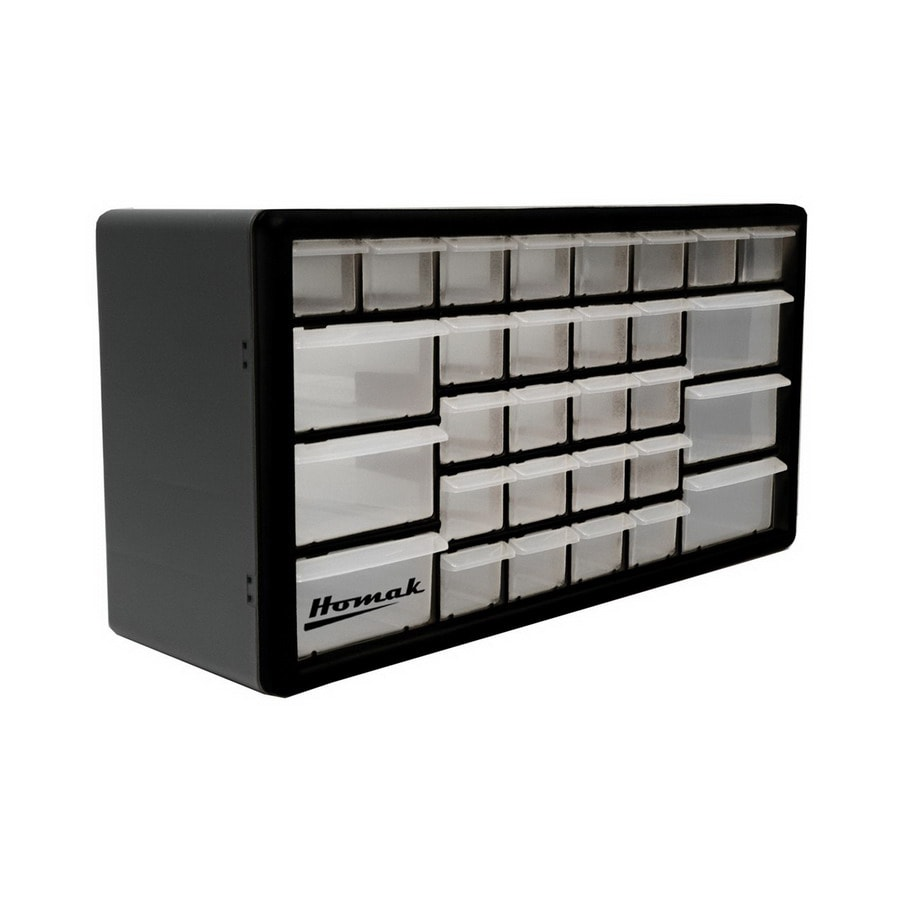 Homak 19.875-in x 10-in 30 Black Plastic Drawer