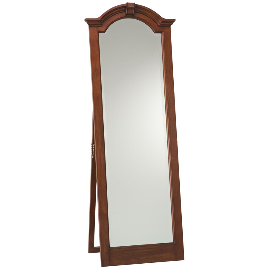 Cooper Classics Traditional Cheval 24.5-in x 68-in Lodge Brown Cherry Beveled Arch Framed Transitional Floor Mirror