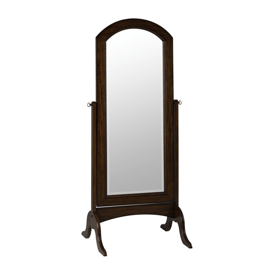 Cooper Classics Laurel Cheval 26.5-in x 68-in Rustic Mahogany Beveled Arch Framed Transitional Floor Mirror