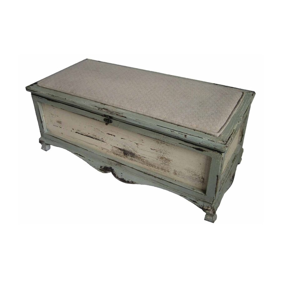 Cheung's Shabby Transitional Shabby Blue Storage Bench