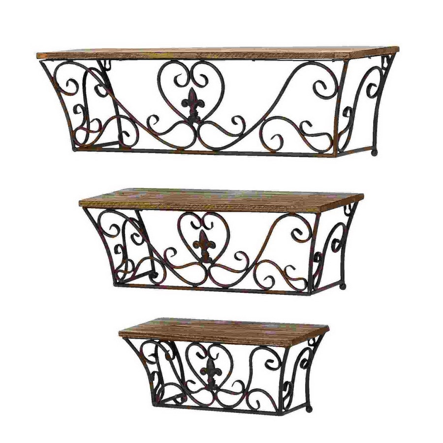 Shop woodland imports 3 piece wood wall mounted shelving for 3 piece metal kitchen units