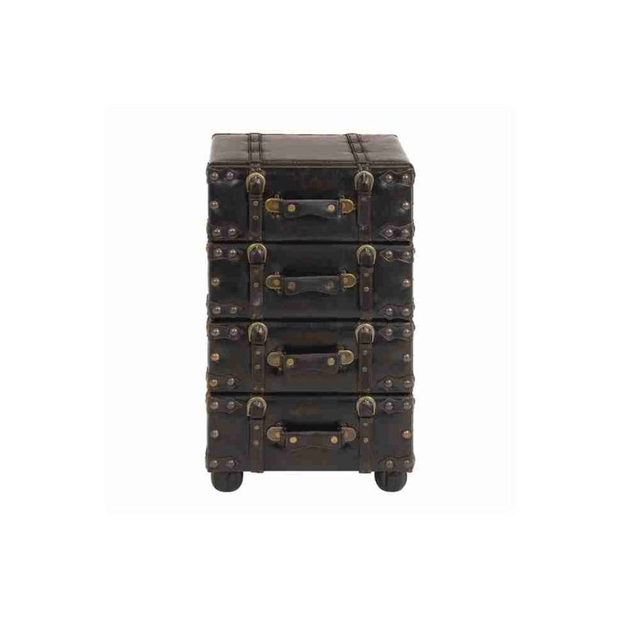 Woodland Imports Antiqued Distressed Black Fir 4 Drawer Accent Chest
