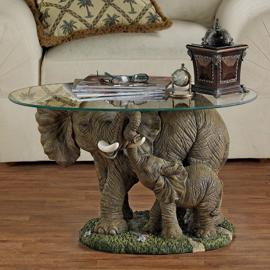 Shop design toscano elephant 39 s majesty glass coffee table at Elephant coffee table
