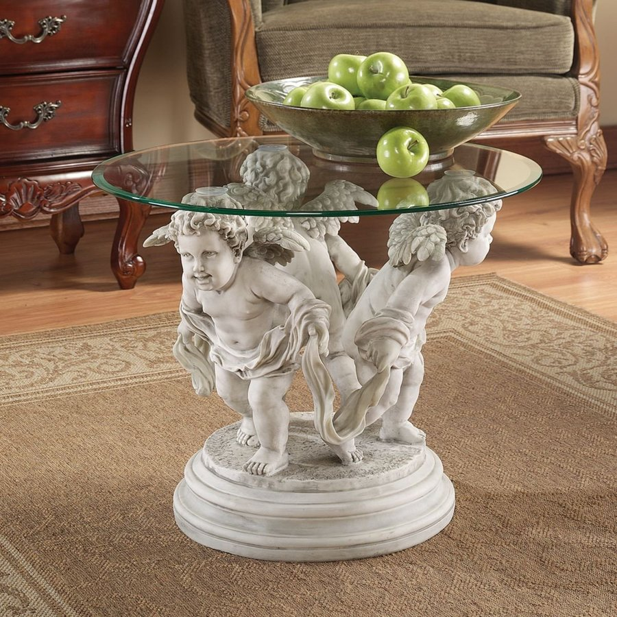 Design Toscano Bernini's Cherubs Clear Glass Round Coffee