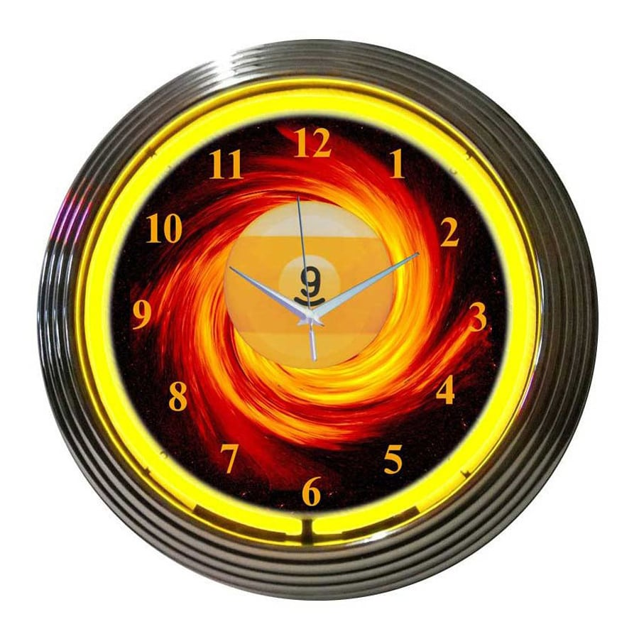 Neonetics 9 Ball Fire Analog Round Indoor Wall Clock