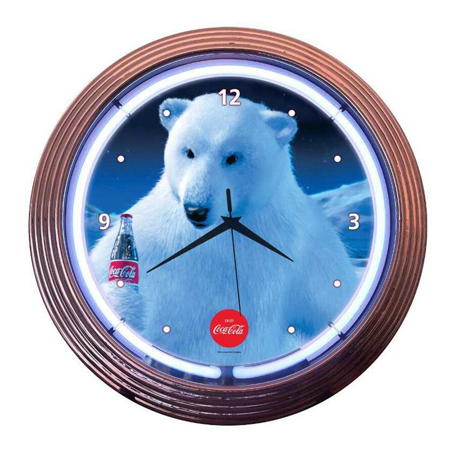 Neonetics Coca-Cola Polar Bear Analog Round Indoor Wall Clock
